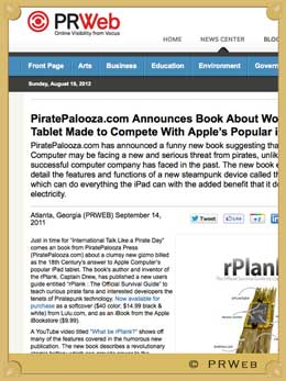 PiratePalooza.com Announces Book About Wooden Tablet Made to Compete With Apple�s Popular iPad